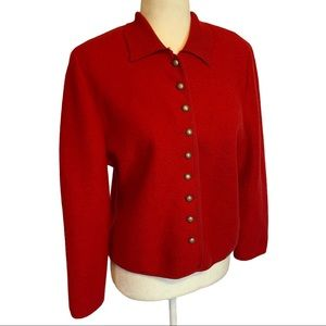Geiger Red Boiled Wool Button Front Jacket